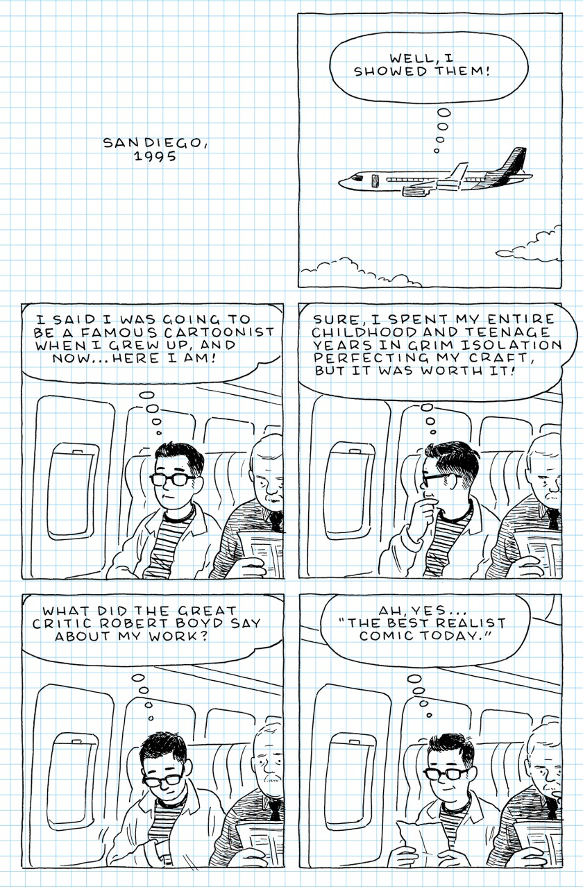 """Interior page of Adrian Tomine's """"The Loneliness of the Long-Distance Cartoonist."""""""