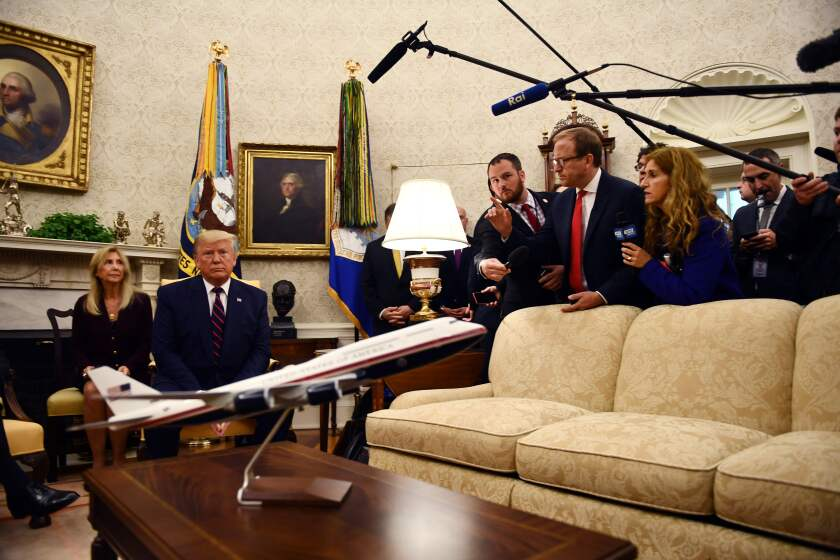President Trump meets with Italian President Sergio Mattarella (not pictured) in the Oval Office on Wednesday.