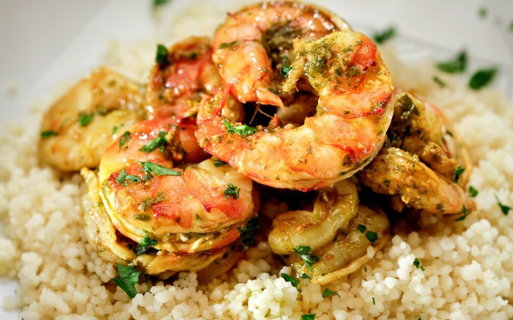 Shrimp charmoula confit