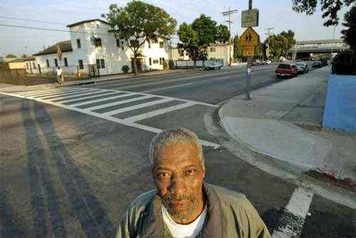 Tommy Jacquette, executive of the Watts Summer Festival, at 116th Street and Avalon, where Lee W. Minikus arrested Marquette Frye on Aug. 11, 1965.