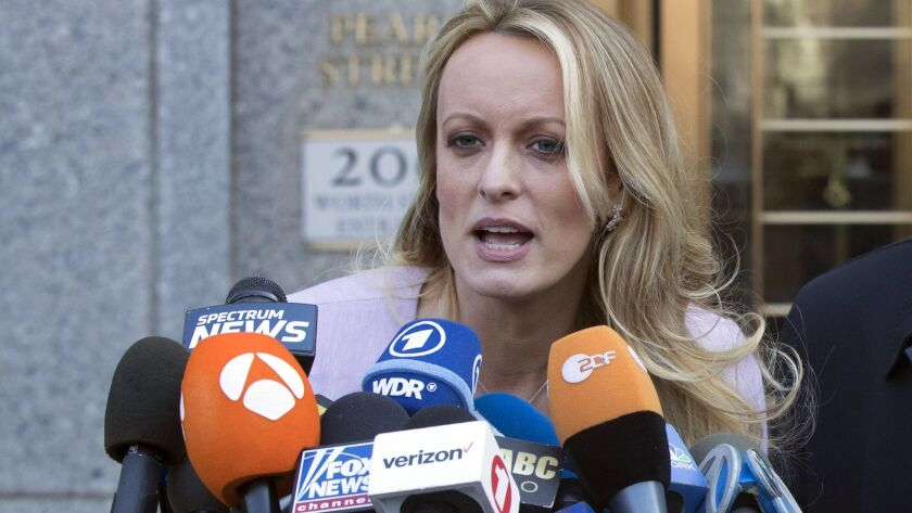 "Stormy Daniels spoke outside federal court on April 16 in New York. Parts of her book ""Full Disclosure"" have been leaked."
