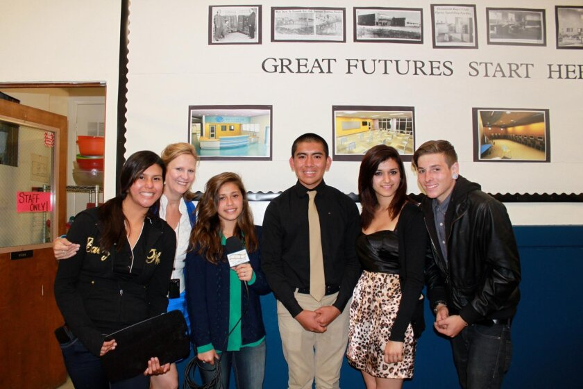 Stephanie Sullivan (second from left) with students