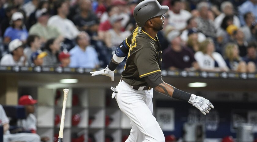 Alexei Ramirez #10 of the San Diego Padres hits a solo home run during the seventh inning of a baseball game against the of the Philadelphia Phillies at PETCO Park on August 5, 2016 in San Diego, California.  (Photo by Denis Poroy/Getty Images)
