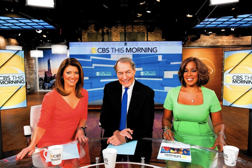 """Hosts Norah O'Donnell, left, Charlie Rose and Gayle King are making ratings inroads with a newsier approach on """"CBS This Morning."""""""