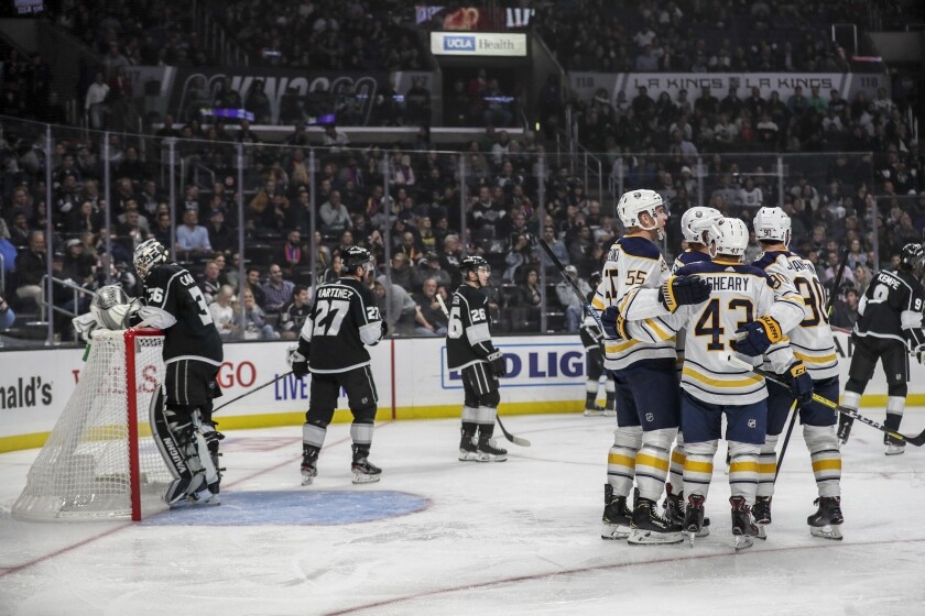 The Buffalo Sabres celebrate a second-period goal against the Kings on Thursday.