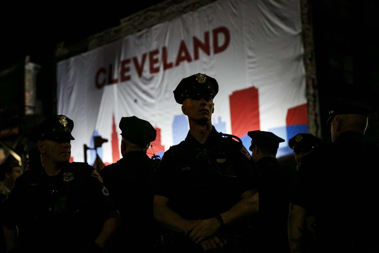 Cleveland Police Officers stand guard at the entrance to the Quick Loans Arena for the 2016 Republican National Convention in Cleveland.