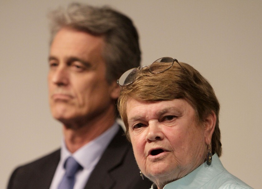 L.A. County supervisorial candidates Sheila Kuehl and Bobby Shriver during a recent debate.