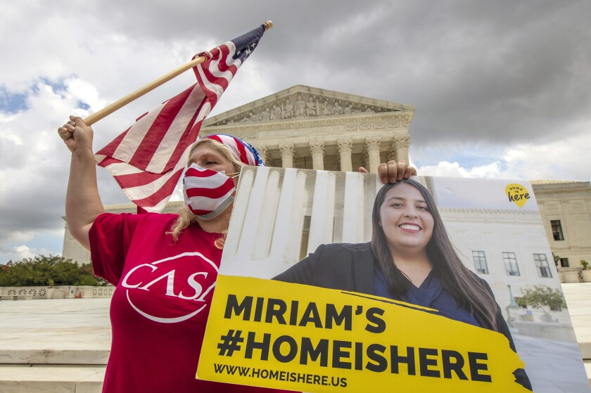 DACA recipients celebrate in front of the U.S. Supreme Court
