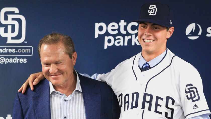 Padres first-round selection MacKenzie Gore with agent Scott Boras during a press conference at Petco Park in San Diego on Saturday, June 24, 2017.