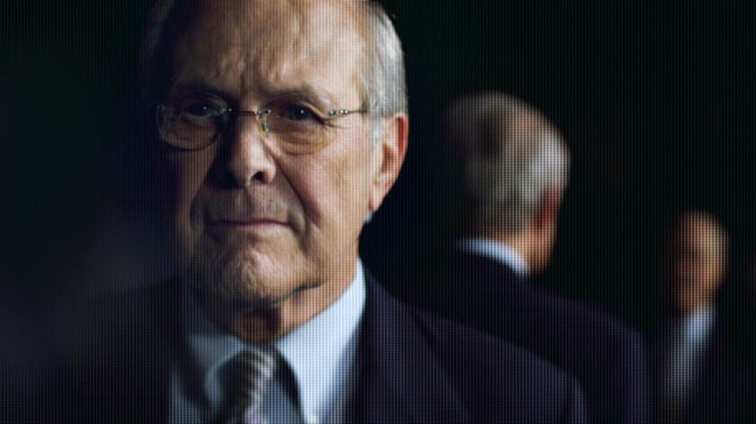 A scene from the movie The Unknown Known with Donald Rumsfeld by Errol Morris.