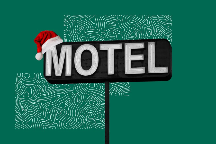 Illustration of a motel sign with a Santa hat on it