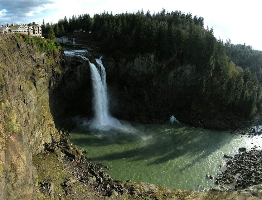Snowqualmie Falls is one of the destinations on the Mountains to Sound tour in Washington State from Bicycle Adventures.