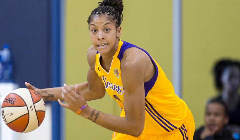 Sparks forward Candace Parker, shown during an exhibition game, finished with 24 points and 11 rebounds on Sunday against the Lynx.