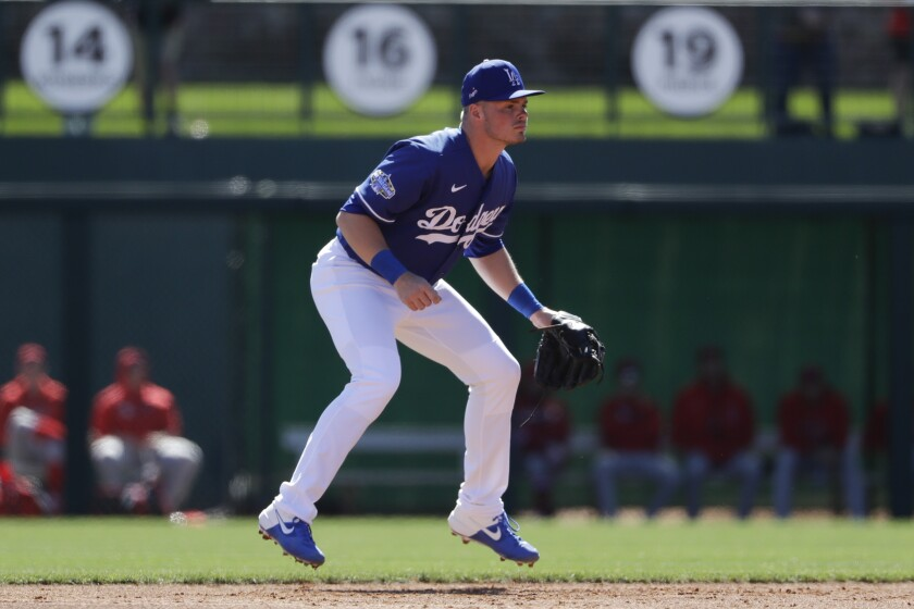 Dodgers second baseman Gavin Lux during a spring training game against the Angels.