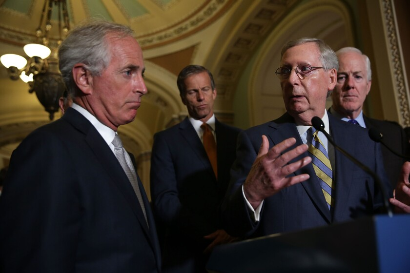 Senate Majority Leader Mitch McConnell denounces the Iran nuclear agreement as fellow Republican Senators Bob Corker, John Thune and Senate Majority Whip John Cornyn listen, at a news conference following the weekly Senate Republican Policy Luncheon on Sept. 9.
