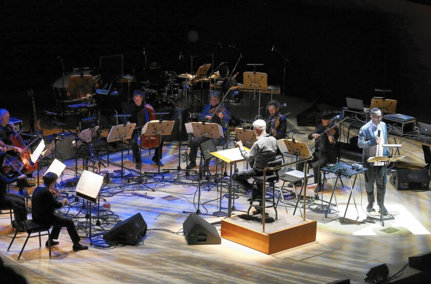 """Cedric Berry, right, performx excerpts from """"I Was Looking at the Ceiling and Then I Saw the Sky"""" at the Walt Disney Concert Hall."""