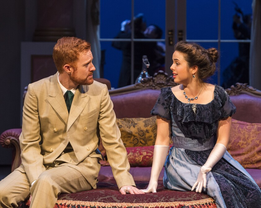 """Kasey Mahaffy, left, and Jill Renner in """"You Never Can Tell"""" at A Noise Within in Pasadena."""