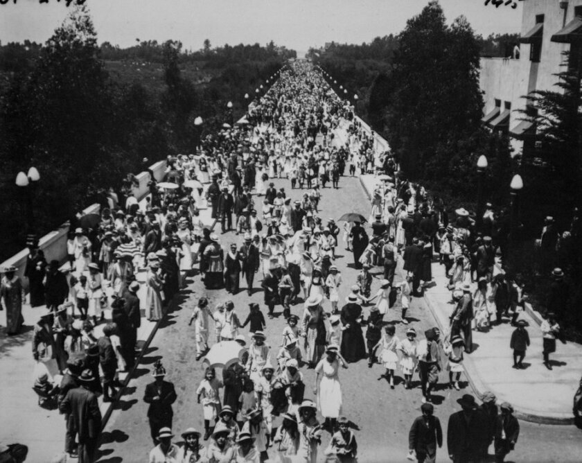 Opening Day, 1915 fair: President Woodrow Wilson signaled the opening of the Panama-California Exposition a few moments after midnight on Jan. 1, 1915, and a few hours later the Cabrillo Bridge was filled with well-dressed first-day attendees, young and old. The adult admission was 50 cents (25 cen