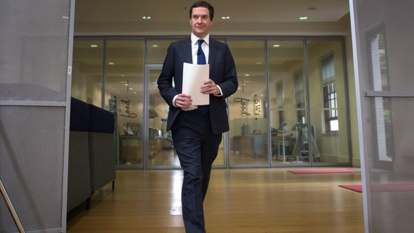 UK Treasury chief George Osborne arrives for a press conference in London on Monday.