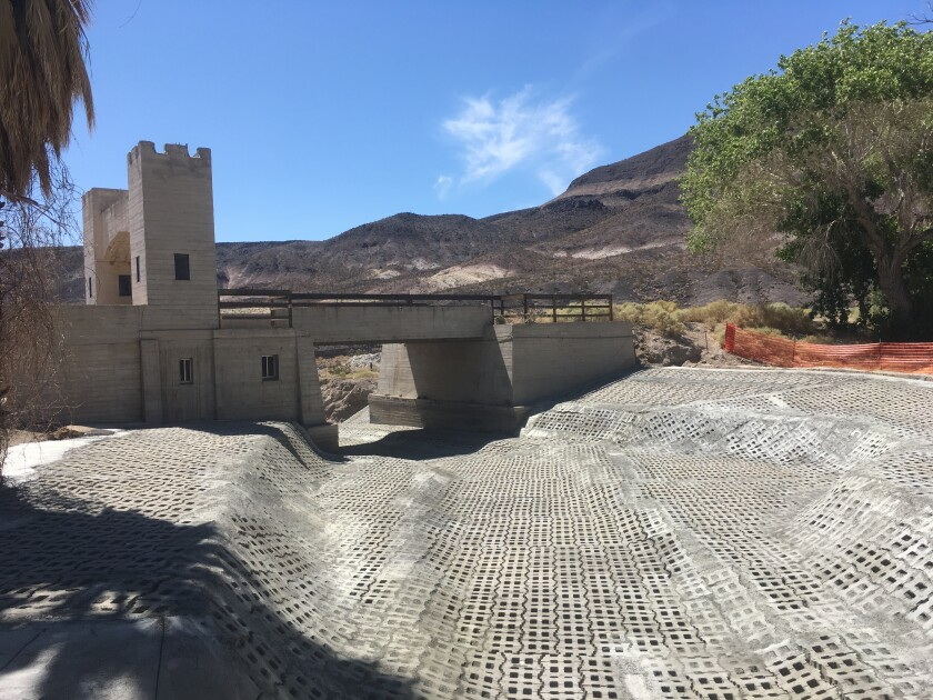 Concrete bricks shore up the bridge at Scotty's Castle in Death Valley National Park. Repairs from extreme flooding in 2015 will keep the landmark shut until 2021.