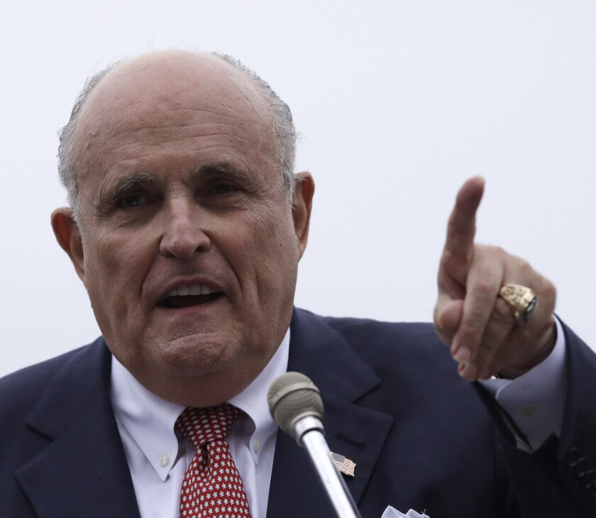 """Rudy Giuliani isn't endorsing Gov. Cuomo's GOP foe, but he does say he wants Republicans to hold onto the state Senate because they are """"a voice of reason in Albany."""""""