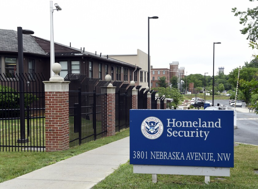 In this June 5, 2015 file photo, a view of the Homeland Security Department headquarters in Washington. Analysts at the Homeland Security Department's intelligence arm found insufficient evidence that citizens of seven Muslim-majority countries included in President Donald Trump's travel ban pose a terror threat to the U.S.