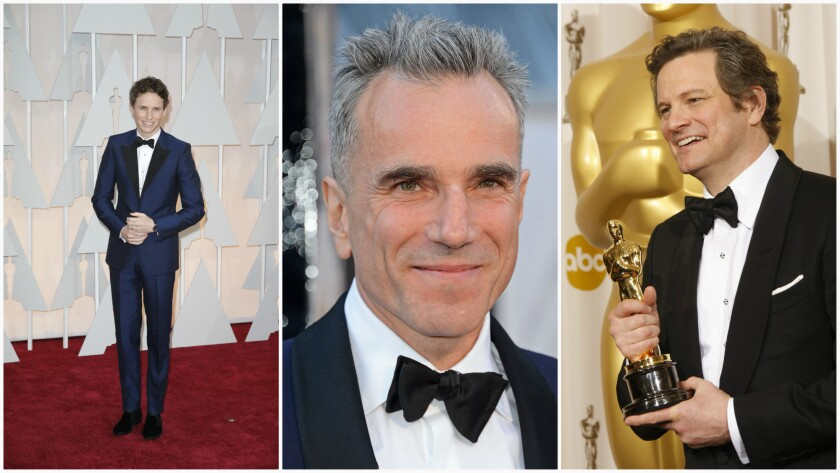 Eddie Redmayne in Alexander McQueen, from left, Daniel Day-Lewis in Domenico Vacca and Colin Firth in Tom Ford.