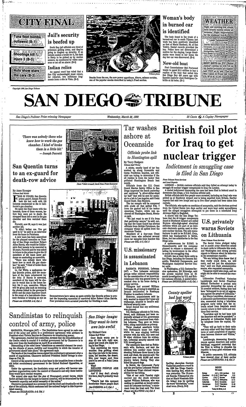 Front page of the San Diego Tribune from March 28, 1990