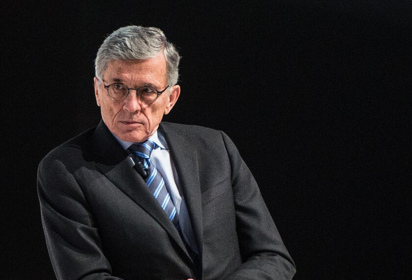 Federal Communications Commission Chairman Tom Wheeler speaks during the Mobile World Congress 2015 conference in Barcelona, Spain, in March.