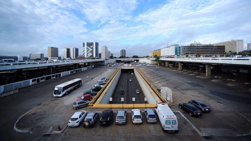 Brasilia's normally busy bus terminal is left empty Friday by a general strike called by unions opposing austerity reforms proposed by the federal government.