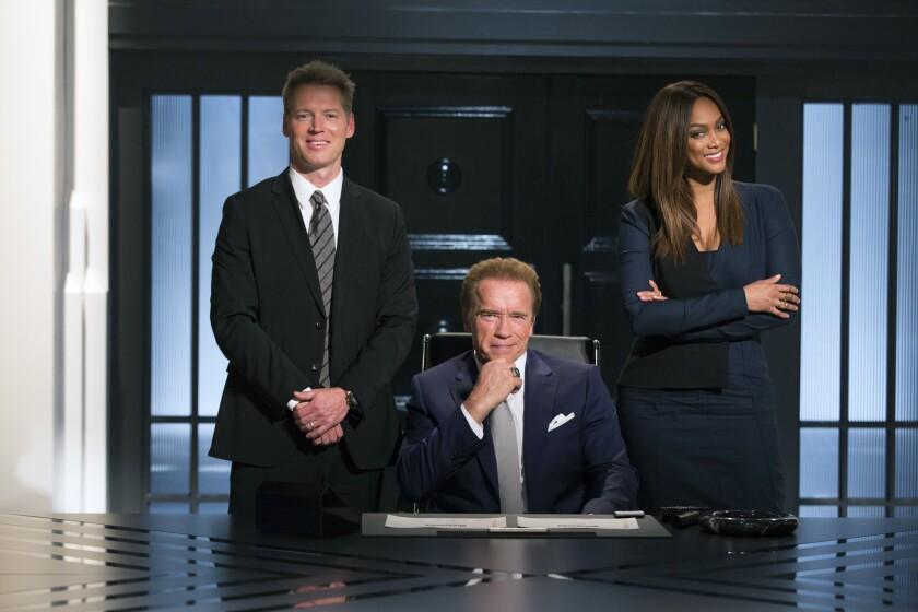 """Patrick Knapp Schwarzenegger, left, Arnold Schwarzenegger and Tyra Banks in """"The New Celebrity Apprentice."""""""