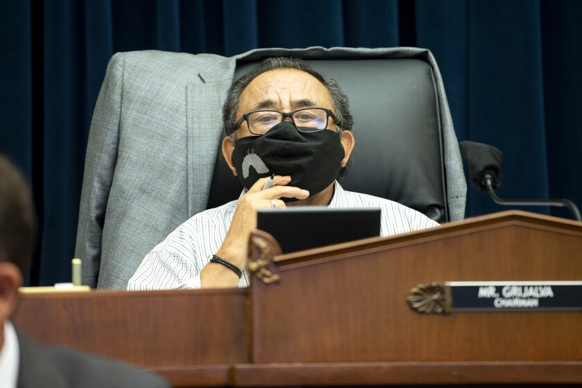 Rep. Raul Grijalva (D-Ariz.) at a House Natural Resources Committee hearing on June 29.