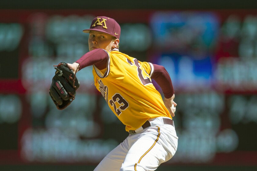 Minnesota pitcher Max Meyer throws against Oklahoma in April 2019.