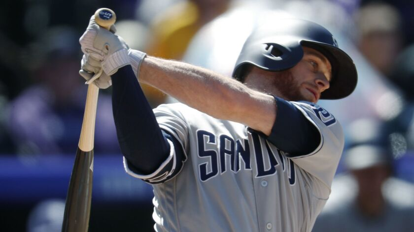 Cory Spangenberg bats against the Rockies last month.
