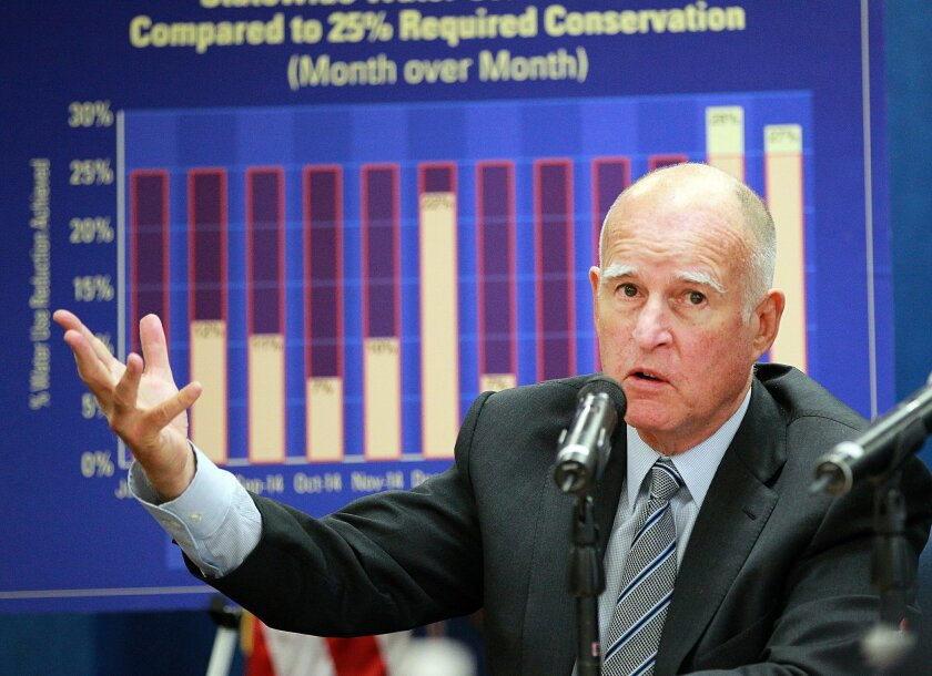 Jerry Brown talked about the state's ongoing drought during a news conference in San Diego in August.
