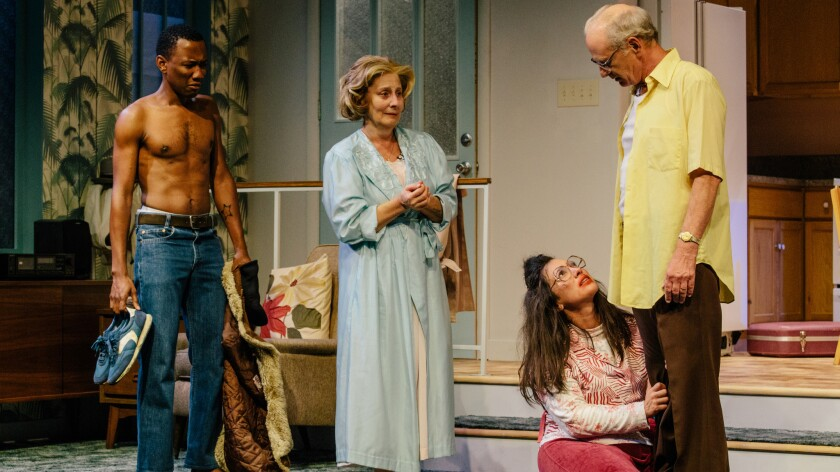 """Giovanni Adams, from left, Marilyn Fox, Annika Marks and Michael Mantell star in Donald Margulies' """"The Model Apartment."""""""