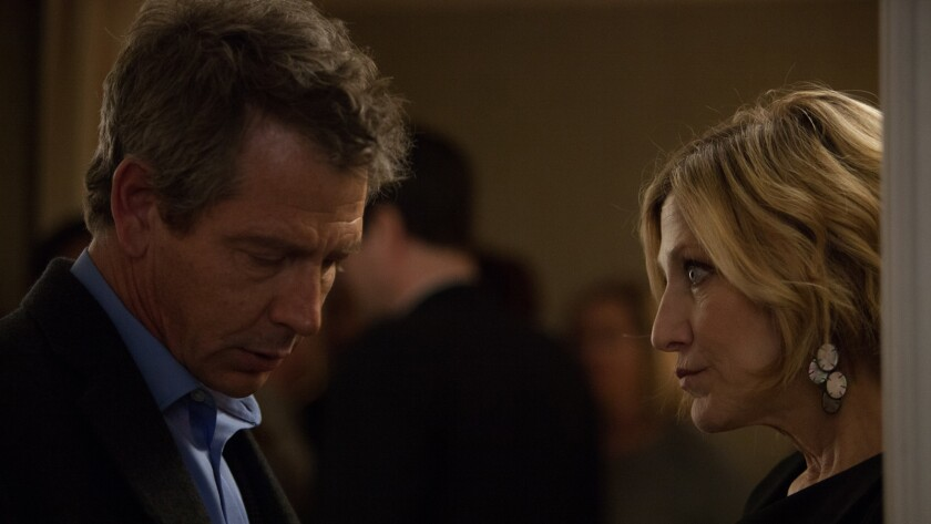 "Ben Mendelsohn and Edie Falco in the movie ""The Land of Steady Habits."""