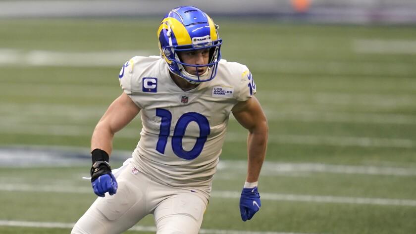 Rams wide receiver Cooper Kupp runs a pattern.