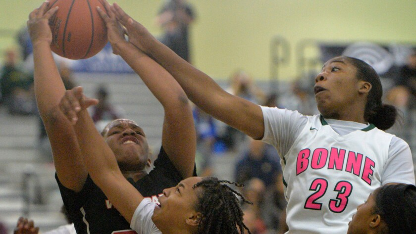Narbonne players wear jerseys with pink letters and numbers during a CIF Southern Section Open Division quarterfinal playoff game against View Park on Saturday.