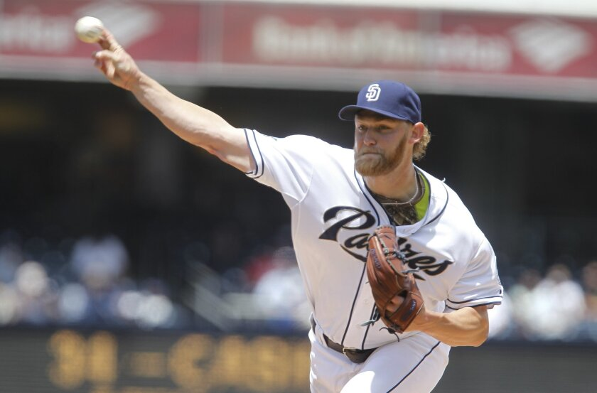 The Padres' Andrew Cashner pitches to the Royals in the first inning at Petco Park in San Diego on Wednesday.