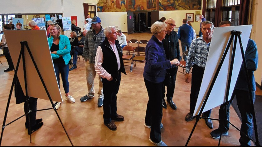 Members of the public view the Village Streetscape Plan during a community open house, held at La Jolla Recreation Center, March 6, 2020.