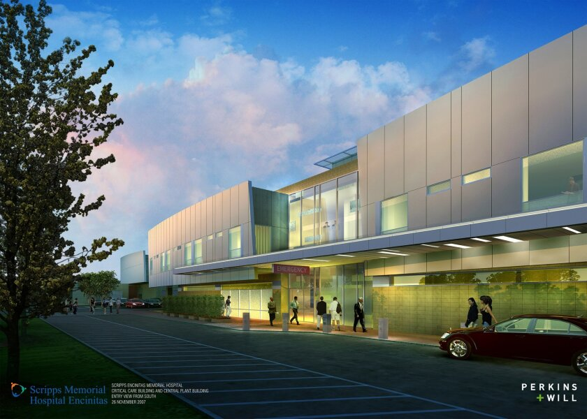 An architectural rendering of the new emergency department planned for Scripps Memorial Hospital Encinitas.