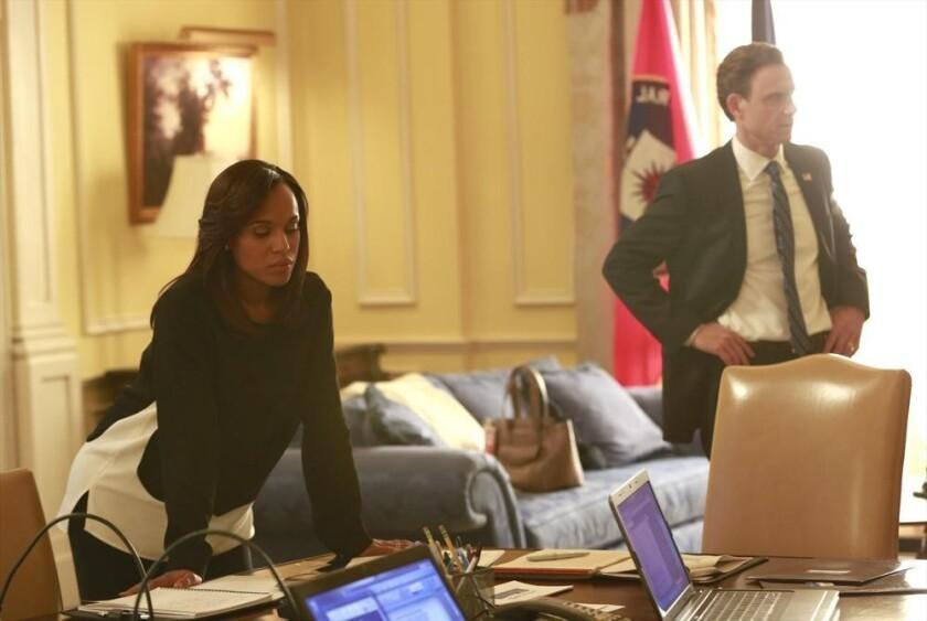 "Kerry Washington and Tony Goldwyn in ""Scandal."""