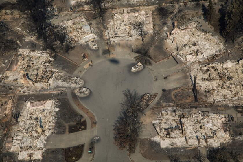 An aerial view of the Coffey Park neighborhood destroyed by wildfire in Santa Rosa in 2017.