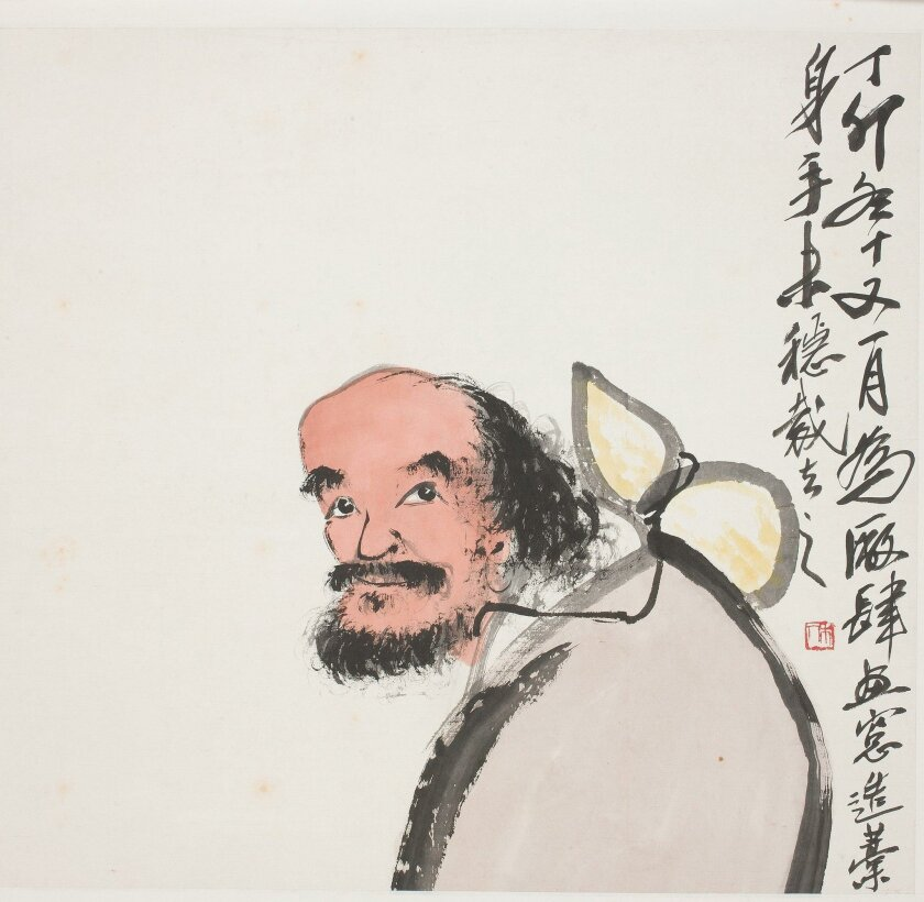 """DO NOT CROP. """"Old Man with Gourd,"""" 1927 by Qi Baishi is one of 30 Chinese paintings in the 'Brush and Ink' exhibit at the San Diego Museum of Art."""
