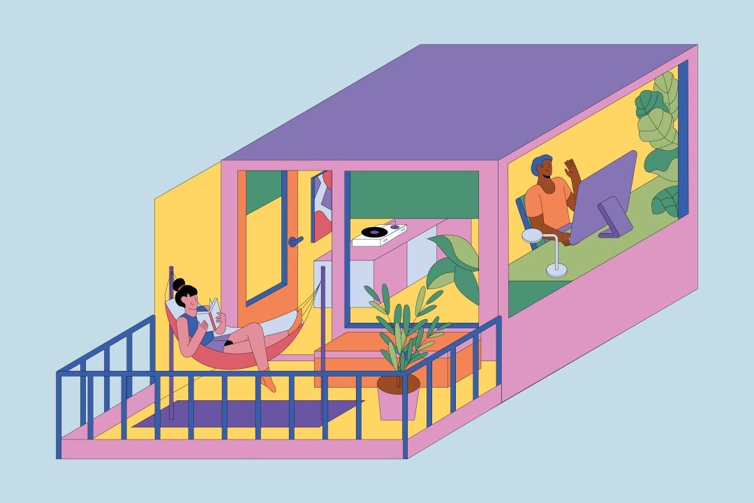 An illustration shows an apartment with workspace and a patio offering fresh air.