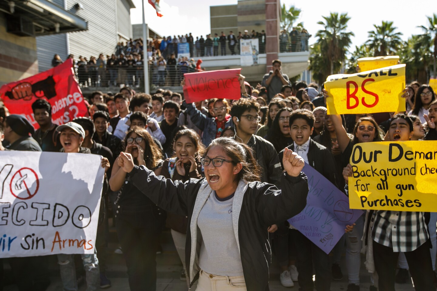 """Ingrid Lopez rallies her fellow students as they chant, """"No More Guns,"""" during the National School Walkout for Gun Control, at Miguel Contreras Learning Complex in Los Angeles."""