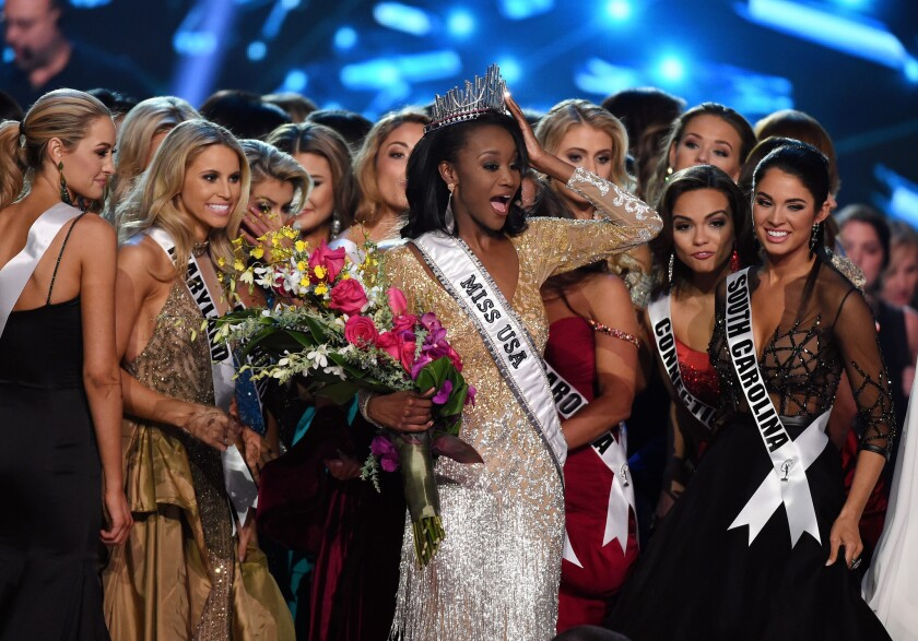 Deshauna Barber, being crowned Miss USA in June.