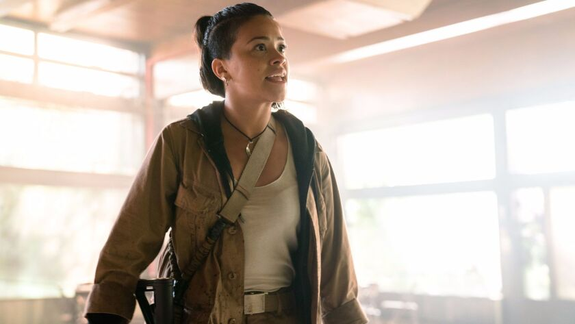 """Gina Rodriguez in """"Annihilation"""" from Paramount Pictures and Skydance. Credit: Peter Mountain"""