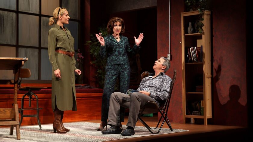 "Susannah Schulman Rogers, left, Colette Kilroy and Gareth Williams in ""The Monster Builder."""